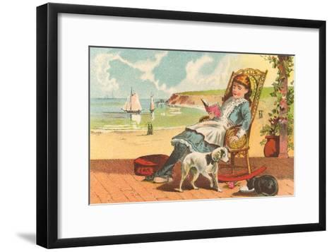 Victorian Girl Reading by Seashore--Framed Art Print
