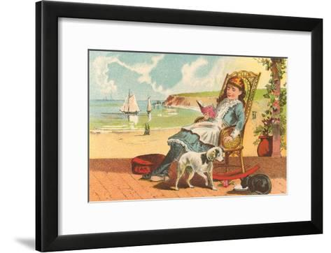 Victorian Girl Reading by Seashore--Framed Art Print