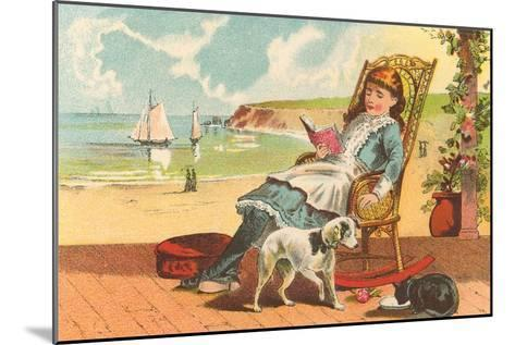 Victorian Girl Reading by Seashore--Mounted Art Print