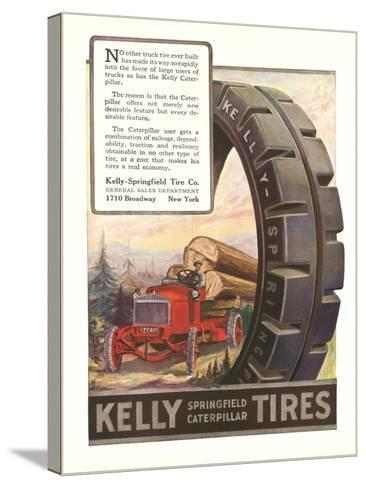 Kelly Tires, Tractor Hauling Logs--Stretched Canvas Print