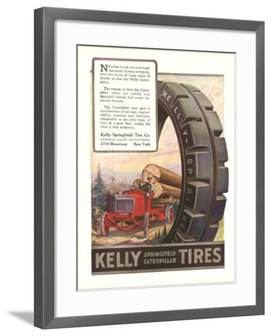 Kelly Tires, Tractor Hauling Logs--Framed Art Print