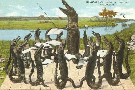 Alligator Chorus in New Orleans, Louisiana--Stretched Canvas Print