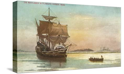 Mayflower, Plymouth, Mass., Illustration--Stretched Canvas Print