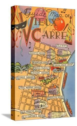Map of Vieux Carre, New Orleans, Louisiana--Stretched Canvas Print
