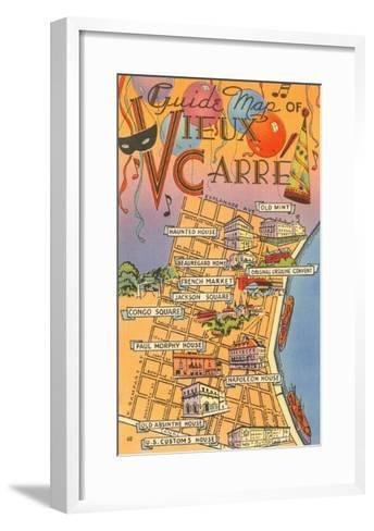 Map of Vieux Carre, New Orleans, Louisiana--Framed Art Print