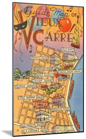 Map of Vieux Carre, New Orleans, Louisiana--Mounted Art Print