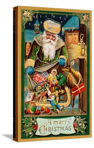 A Merry Christmas, Santa with Bag--Stretched Canvas Print