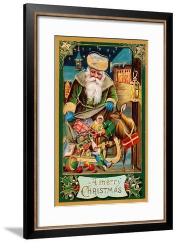 A Merry Christmas, Santa with Bag--Framed Art Print