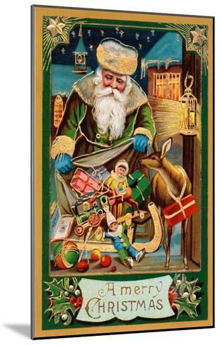 A Merry Christmas, Santa with Bag--Mounted Art Print
