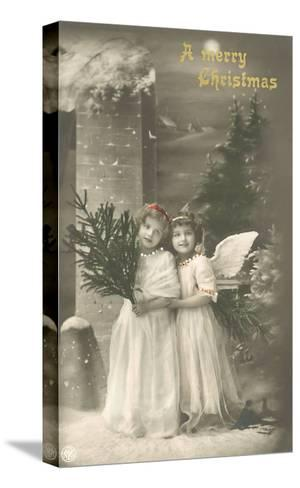 A Merry Christmas, Cherub and Girl--Stretched Canvas Print