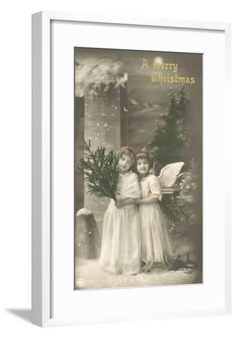 A Merry Christmas, Cherub and Girl--Framed Art Print