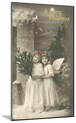 A Merry Christmas, Cherub and Girl--Mounted Art Print