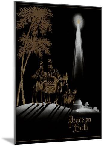 Peace on Earth, Gold Magi on Black--Mounted Art Print