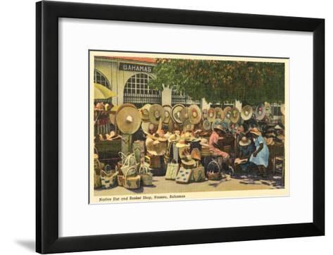 Hat and Basket Stand, Nassau, Bahamas--Framed Art Print