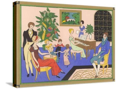 Regency Family Christmas Scene--Stretched Canvas Print