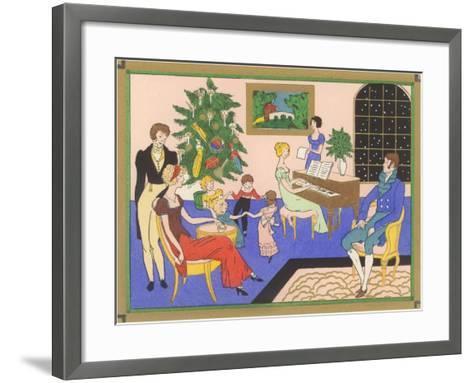 Regency Family Christmas Scene--Framed Art Print