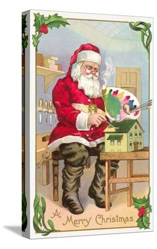 A Merry Christmas, Santa in Workshop--Stretched Canvas Print