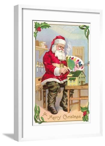 A Merry Christmas, Santa in Workshop--Framed Art Print