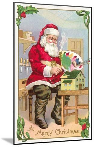 A Merry Christmas, Santa in Workshop--Mounted Art Print