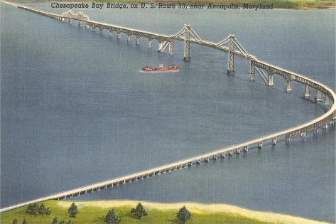 Chesapeake Bay Bridge, Annapolis, Maryland--Stretched Canvas Print