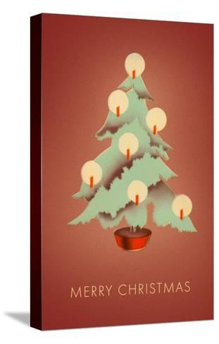 Merry Christmas, Tree with Candles--Stretched Canvas Print
