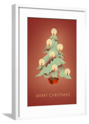 Merry Christmas, Tree with Candles--Framed Art Print