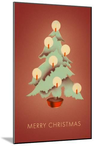 Merry Christmas, Tree with Candles--Mounted Art Print
