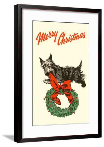 Merry Christmas, Scotty with Wreath--Framed Art Print