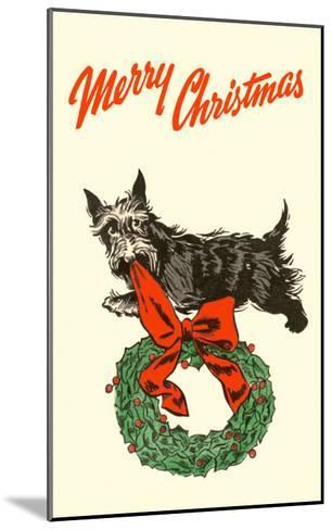 Merry Christmas, Scotty with Wreath--Mounted Art Print