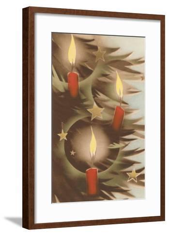 Christmas Candles on Tree--Framed Art Print