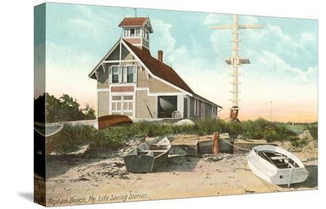 Life Saving Station, Popham Beach, Maine--Stretched Canvas Print