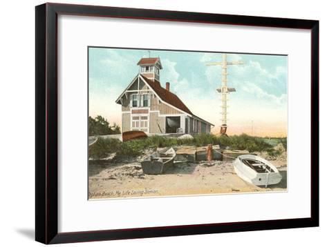 Life Saving Station, Popham Beach, Maine--Framed Art Print