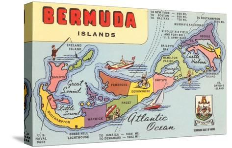 Map of Bermuda Islands--Stretched Canvas Print