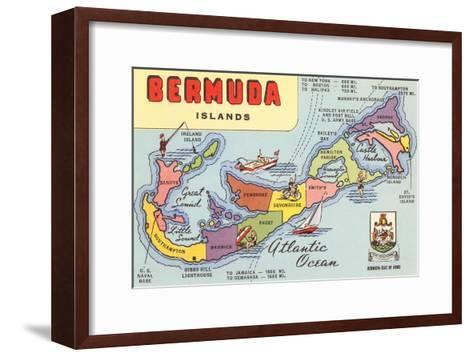 Map of Bermuda Islands--Framed Art Print