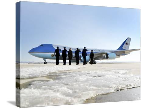 Air Force One, with President Obama and His Family Aboard, Prepares to Depart--Stretched Canvas Print