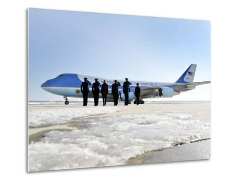 Air Force One, with President Obama and His Family Aboard, Prepares to Depart--Metal Print