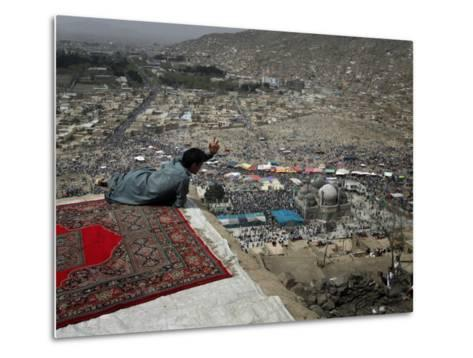 Afghan Youth Sits on a Rooftop During the Celebration of Nowruz--Metal Print