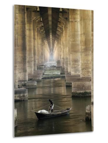 Fisherman Casts His Net in the River Ganges on the Outskirts of Allahabad, India--Metal Print