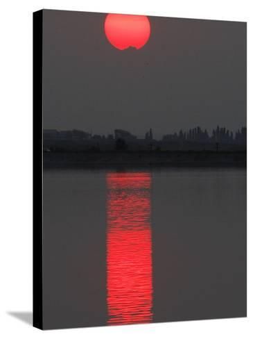 Sun Sets over a Lake on the Outskirts of Bucharest, Romania--Stretched Canvas Print