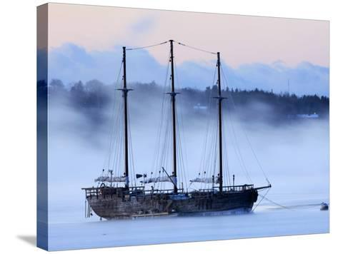 Arctic Sea Smoke Drifts by Raw Faith, an 88-Foot Galleon, on a Minus-12 Degree F Morning--Stretched Canvas Print