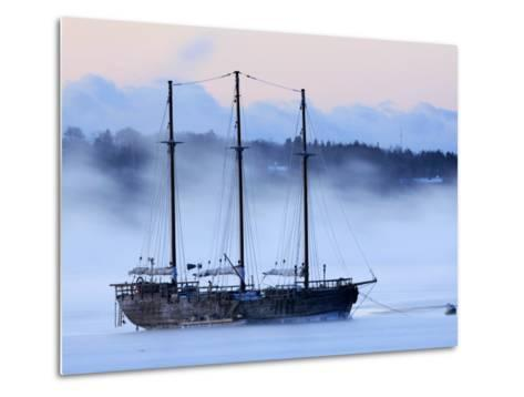 Arctic Sea Smoke Drifts by Raw Faith, an 88-Foot Galleon, on a Minus-12 Degree F Morning--Metal Print