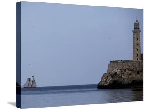 US-Flagged Vessel Amistad Nears the Port of Havana as it Passes the Morro Castle--Stretched Canvas Print