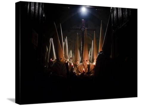 Penitents Participate in Procession of 'Jesus Yacente' Brotherhood, During Holy Week in Zamora--Stretched Canvas Print