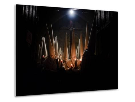 Penitents Participate in Procession of 'Jesus Yacente' Brotherhood, During Holy Week in Zamora--Metal Print