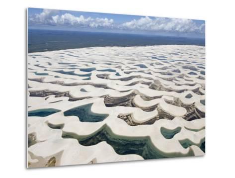 Aerial View of the Sand Dunes at the Lencois Maranhenses National Park, Brazil--Metal Print