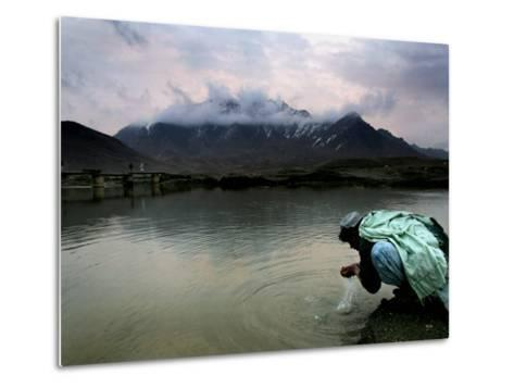 Afghan Man Washes His Face in the River before Going to Evening Prayers--Metal Print