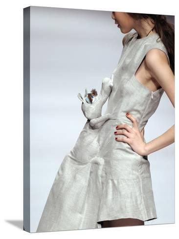 Model Displays a Creation by University Graduates During China Fashion Week in Beijing--Stretched Canvas Print