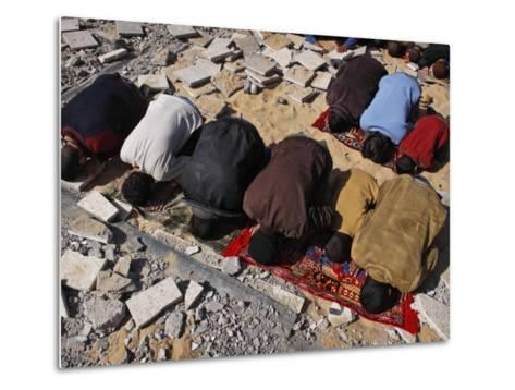 Palestinians Pray in Rubble of Mosque Destroyed in Israeli Military Offensive, Northern Gaza Strip--Metal Print