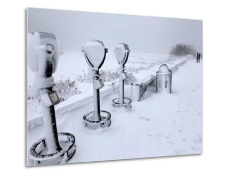 Telescope Viewers are Covered in Snow Overlooking Lighthouse Beach in Chatham, Massachusetts--Metal Print