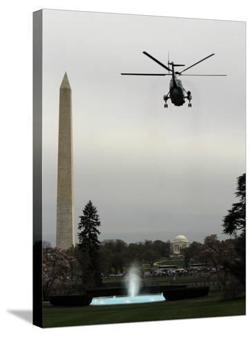 Marine One, with President Barack Obama Aboard, Leaves the White House in Washington--Stretched Canvas Print